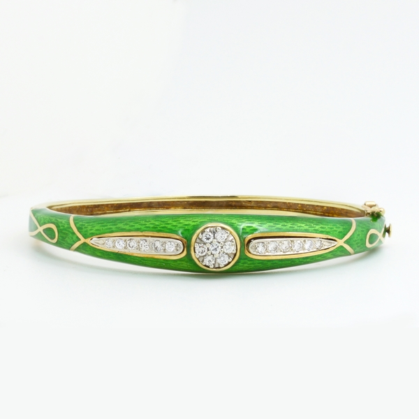 Estate Enamel Diamond Bracelet - Item # JHM011 - Reliable Gold Ltd.